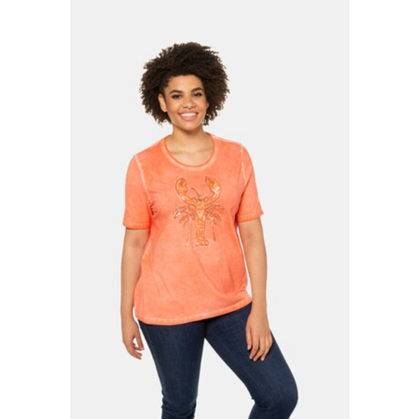 Ulla Popken T-Shirt, Pailletten-Hummer, Classic, cold dyed - Große Größen