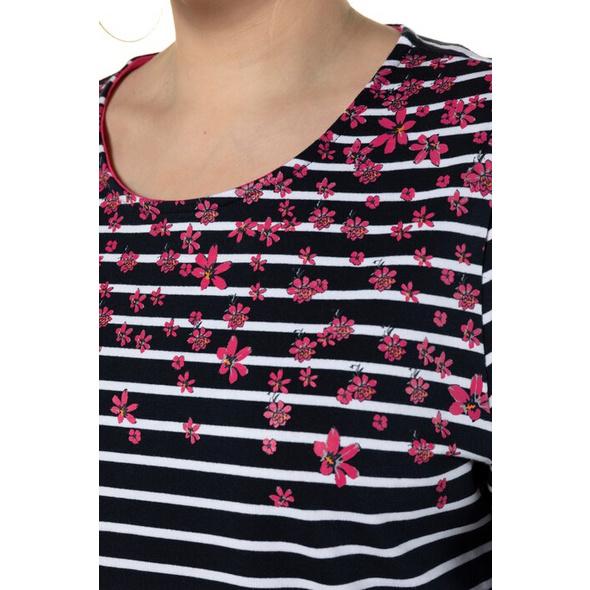 Sweatshirt, Ringelmuster, Classic, Blüten, 3/4-Arm