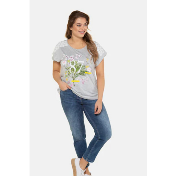 Ulla Popken T-Shirt, Zahlenmotiv, Oversized, Spitze, Biobaumwolle - Große Größen