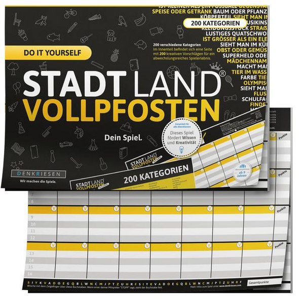 Denkriesen DEN09011 - Stadt Land Vollpfosten®, do it yourself Edition, DIN A4, Familienspiel