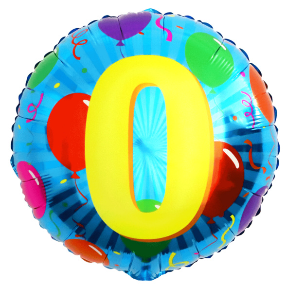 Folienballon mit Zahl 0