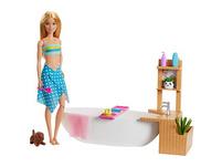 Barbie Wellnesstag Puppe Sprudelndes Bad, Anziehpuppe (blond), Barbie Badewanne