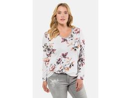Ulla Popken Shirt, Blütenmuster, Classic, Metallic-Einfassung - Große Größen