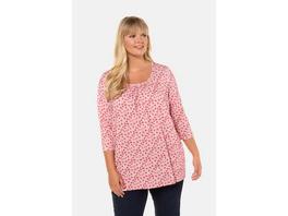Ulla Popken Shirt, Punkte, A-Linie, gekräuselter Ausschnitt - Große Größen