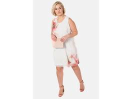Kleid, XL-Blüten, Chiffon, Jersey-Unterkleid