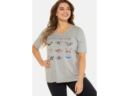 Ulla Popken T-Shirt, Schmetterlinge, Classic, V-Ausschnitt - Große Größen