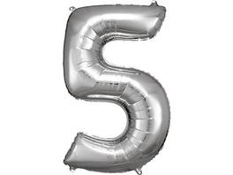 Super Shape Folienballon Silber, Zahlenballon 5, 58 x 86 cm