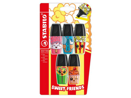 Textmarker - STABILO BOSS MINI Sweet Friends - 5er Pack - pink, blau, gelb, grün, orange